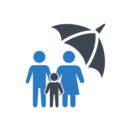 Life insurance icon illustration isolated vector sign symbol - family insurance icon vector blue 向量圖像
