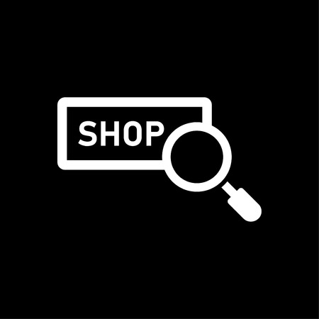 Shop searching - vector icon white