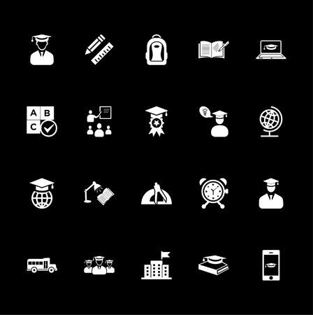 Education icons set vector white