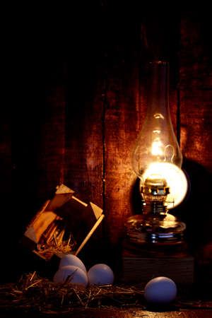 stillife: In the studio environment photographed gas lamp and eggs