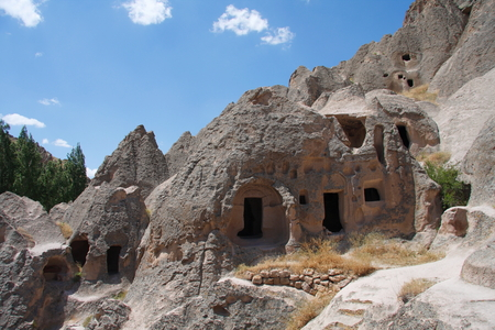 fleeing: Early Christians fleeing from the Roman period, the Romans; rock the church and made homes. Today Cappadocia some structures is still used as home Stock Photo