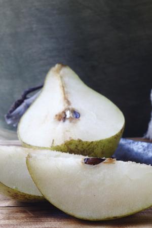 daylight: cut pear macro photographed in daylight,food Stock Photo