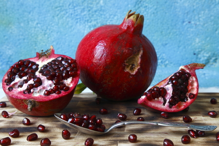 color image: pomegranate macro photographed in daylight, visual, color image Stock Photo