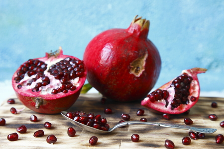 the color image: pomegranate macro photographed in daylight, visual, color image Stock Photo