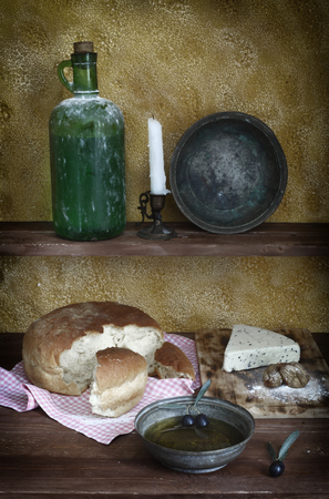 color image: daylight photographed olive oil, cheese, bread, color image Stock Photo