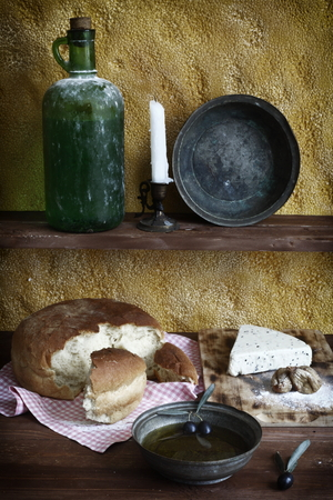 the color image: daylight photographed olive oil, cheese, bread, color image Stock Photo