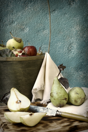 vertica: macro photographed in daylight fruits, food pear and apple Stock Photo