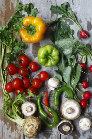 vertical wellness: photographed in daylight vegetables, healthy life Stock Photo