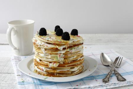 prepared food: daylight macro photographed pancakes, prepared food Stock Photo