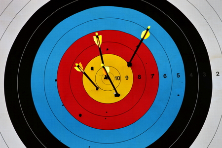 color image: sport of archery, target arrows up, color image Stock Photo