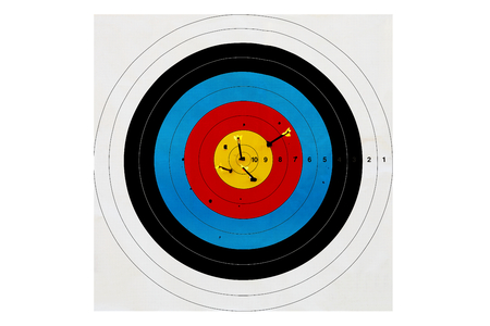 the color image: sport of archery, target arrows up, color image Stock Photo
