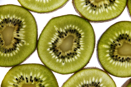 the fruitful: In macro photography studio environment was sliced kiwi fruit