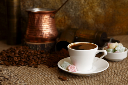 polyanthus: Turkish coffee table in the light of day on photographed images of Turkish culture Stock Photo