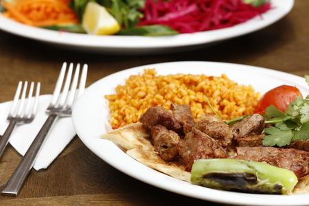 the shish kebab: shish kebab and salads, food photo, cooked food Stock Photo