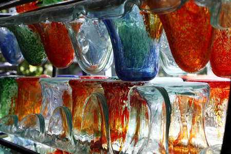 workmanship: colored glass separators, glass workmanship, color image