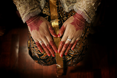 Javanese Woman hand With Henna Stock Photo