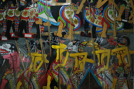 Wayang kulit or Shadow puppets typical of Java, Indonesia Standard-Bild