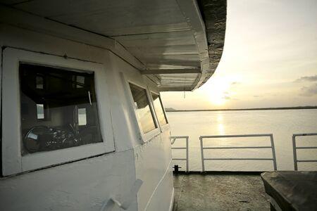 Beautiful Sunset View From Ship bridge Stock Photo