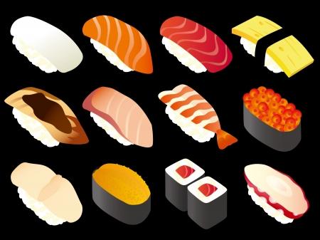 日本の寿司 (黒)