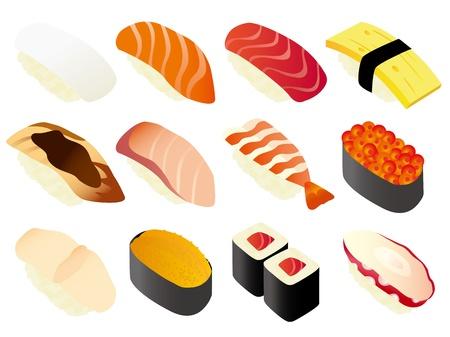 日本の寿司 (ホワイト)