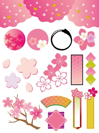 The collection of cherry tree_materials  Vector