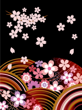 japanese pattern: The Japanese pattern of a cherry tree_Black