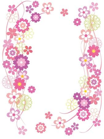 ピンクの花のフレーム