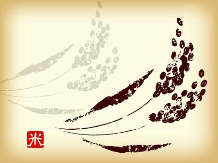 rice harvest: Rice hand-drawn