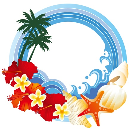 The frame of a hibiscus and the sea