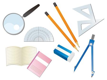 compas de dibujo: La ilustración de la hermosa papelería