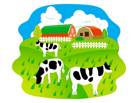 hokkaido: The pasture of a cow  Illustration