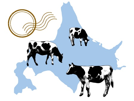 hokkaido: The illustration of Hokkaido and a cow  Illustration