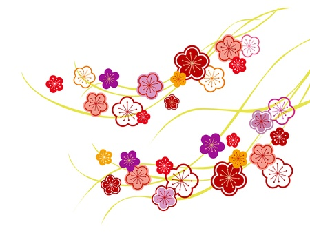 new year s card: The illustration of a beautiful Japanese apricot