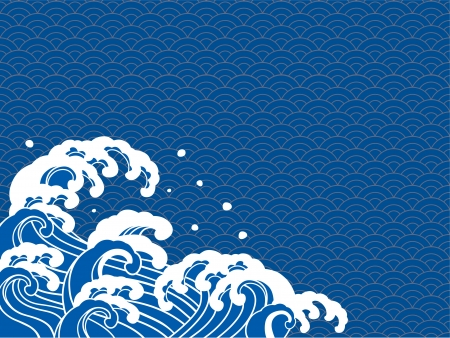 The illustration of the wave of a Japanese print  Vectores