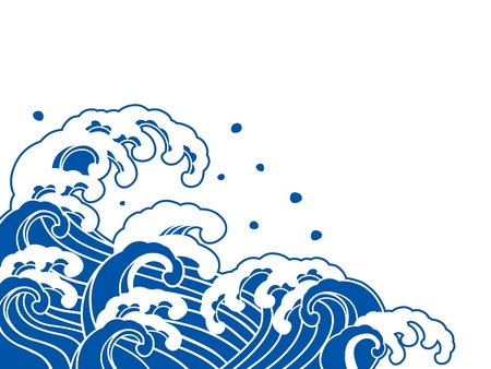 japanese painting: The wave of a Japanese painting  Illustration
