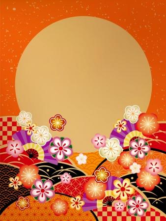 日の丸旗の美しいイラスト