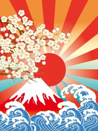 Plum and beautiful Mount Fuji Illustration