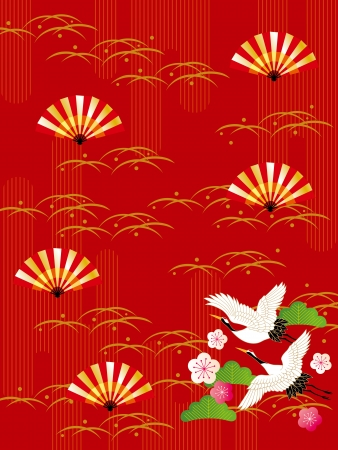 new year s card: Japanese style pattern of crane