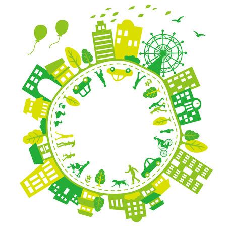 Stad van Green Earth Stock Illustratie