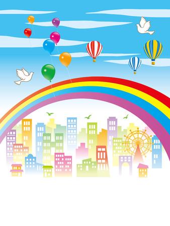 美しく、幸せな都市の景観  イラスト・ベクター素材