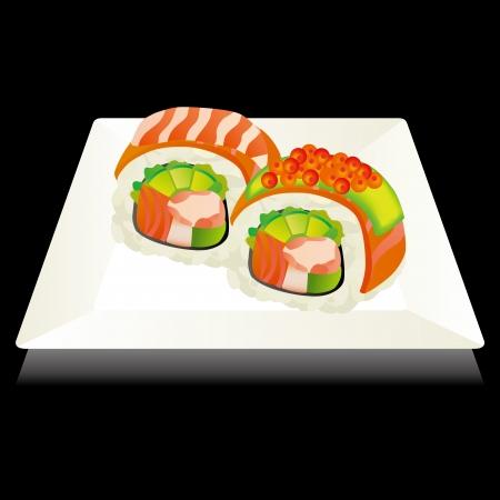 寿司と正方形のプレート