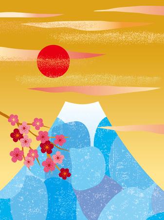 Beautiful Mount Fuji in Japan Illustration
