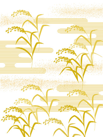 rice harvest: The illustration of Japanese style rice