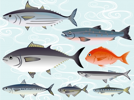 Illustration of Fish in the market Vector