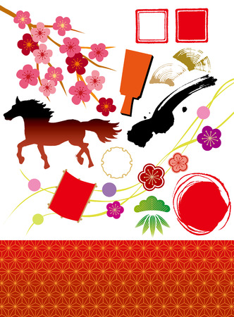 Illustrations of the New Year of 2014 Japan Vector