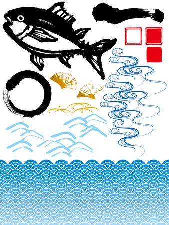 イラスト素材と波のマグロ