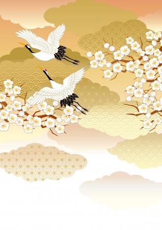 new year s card: Pattern of beautiful kimono Illustration