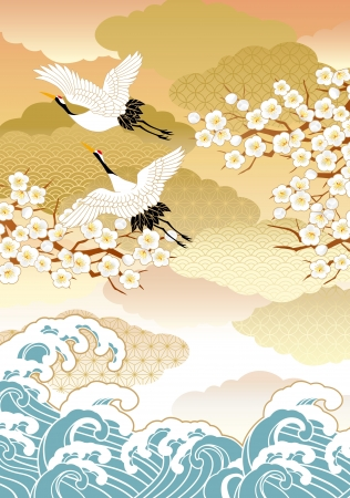 Pattern of beautiful kimono Illustration