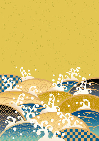 japanese kimono: Sum pattern of the sea of Japan