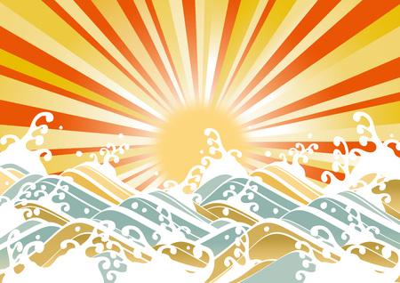 太陽と波のイラスト